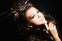 Portrait with feather Royalty Free Stock Photography