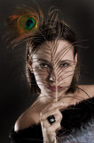 Portrait with feather Royalty Free Stock Image