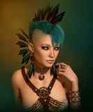 Portrait with Feather Jewelry, 3d CG Stock Photo