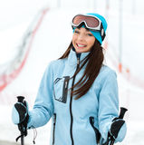Portrait of female alpine skier Stock Photos