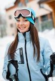 Portrait of female alps skier Stock Image