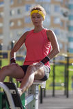 Portrait of Female Athlete in Professional Training Outfit Having Outdoor Workout Royalty Free Stock Photography