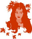Portrait of female with autumn leaves Royalty Free Stock Photography