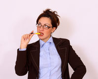 Portrait of female boss wearing eyeglasses Stock Photography