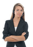 Portrait of a female call centre employee Stock Photos