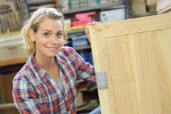 Portrait female carpenter Royalty Free Stock Photo