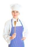 Portrait of female chef cook. Stock Photos