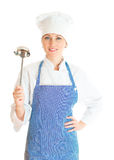 Portrait of female chef cook. Royalty Free Stock Photography
