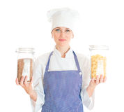 Portrait of female chef cook. Royalty Free Stock Photo