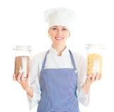 Portrait of female chef cook. Stock Photo