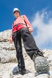 Portrait of a female climber shot from underneath Royalty Free Stock Images