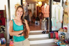 Portrait Of Female Clothing Shop Owner Stock Images