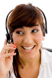Portrait of female customer care looking aside Stock Photo