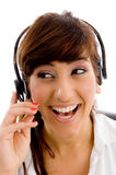 Portrait of female customer care looking aside Stock Photos