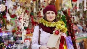 Portrait of female customer stock video