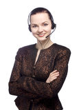 Portrait of a female customer service. Can I help you. Portrait of a female customer service representative royalty free stock photos