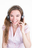 Portrait of female customer service representative with headset royalty free stock images