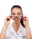 Portrait of a female doctor with glasses Royalty Free Stock Photos