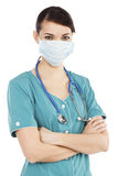 Portrait of female doctor in mask Stock Images