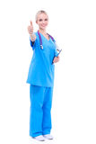 A portrait of a female doctor pointing, close-up, isolated on white background royalty free stock image