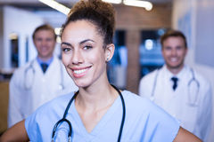 Portrait of female doctor smiling in hospital Stock Photography