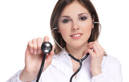 Portrait of a female doctor with a stethoscope Royalty Free Stock Photography