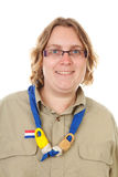 Portrait of female Dutch scout. Over white background Stock Photography