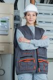 Portrait of female electrician. Female Stock Images