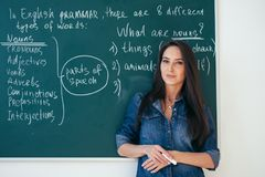 Portrait of female english teacher in front of blackboard. stock photography