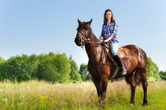 Portrait of female equestrian riding bay horse Stock Image