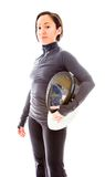 Portrait of a female fencer wearing fencing Stock Images