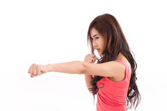 Portrait of female fighter Royalty Free Stock Photos