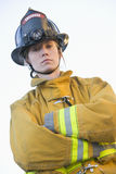 Portrait of a female firefighter. Looking at camera stock photography
