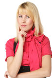 Portrait of female with folded hands Royalty Free Stock Photos