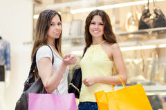 Portrait of female friends shopping together Stock Photography