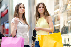 Portrait of female friends shopping together Royalty Free Stock Photo