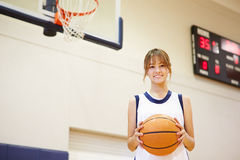 Portrait Of Female High School Basketball Player Royalty Free Stock Images