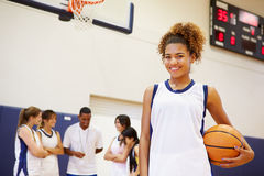 Portrait Of Female High School Basketball Player Stock Photos