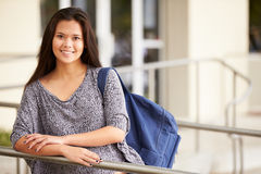 Portrait Of Female High School Student Outdoors Stock Images