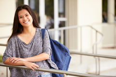 Portrait Of Female High School Student Outdoors Royalty Free Stock Image