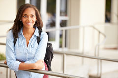 Portrait Of Female High School Student Outdoors Stock Photography