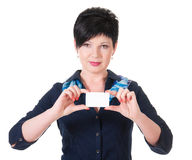 portrait of female holding credit card Stock Photo