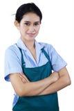Portrait of female housekeeper. Isolated on white background Royalty Free Stock Photography