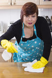 Portrait of female houseworker dusting kitchen Royalty Free Stock Images