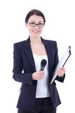 Portrait of female journalist with microphone and clipboard isol Stock Photos