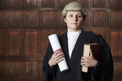 Portrait Of Female Lawyer In Court Holding Brief And Book Royalty Free Stock Photography