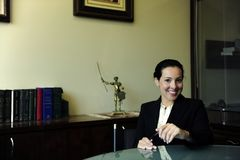 Portrait of a female lawyer at office stock image