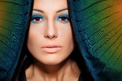 Portrait of female with make-up. Close-up portrait of young female with make-up and conventionalized rainbow wings Royalty Free Stock Image