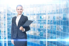 Portrait of female manager with documents Royalty Free Stock Images