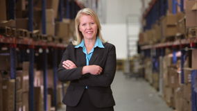Portrait Of Female Manager In Warehouse stock video footage